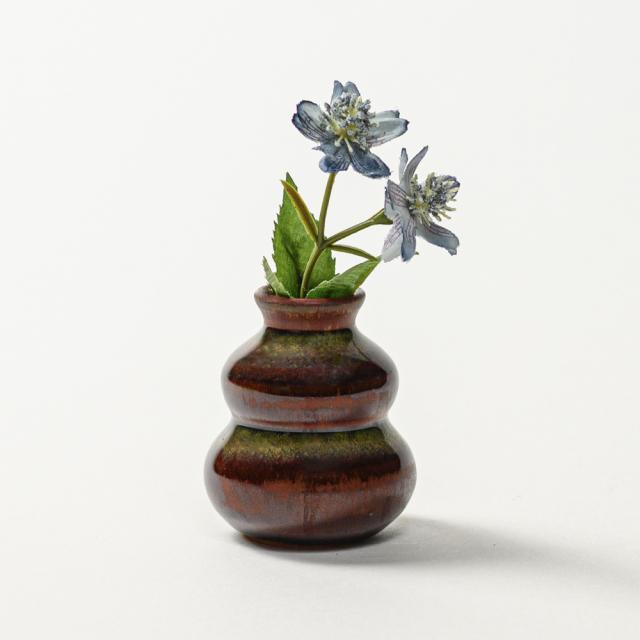 萩焼(伝統的工芸品)豆花入鉄赤釉瓢箪