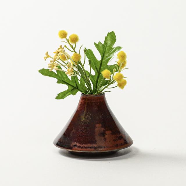 萩焼(伝統的工芸品)豆花入鉄赤釉赤富士