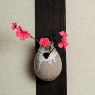 萩焼(伝統的工芸品)掛花入白萩掛分け茄子口上