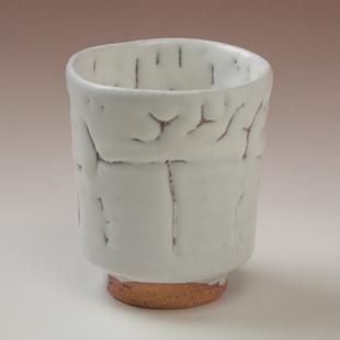 萩焼(伝統的工芸品)湯呑鬼白竹筒線彫