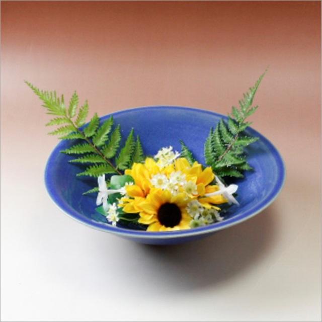 萩焼(伝統的工芸品)水盤透青釉末広