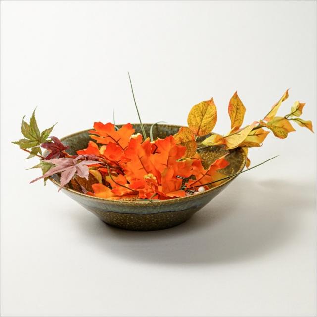 萩焼(伝統的工芸品)水盤鉄青釉末広