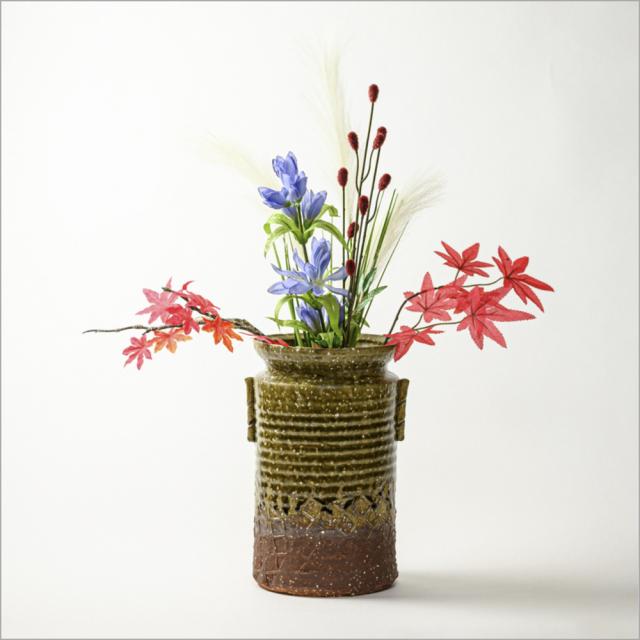 萩焼(伝統的工芸品)花器緑釉荒筒肩衝耳付叩き紋