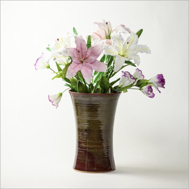 萩焼(伝統的工芸品)花器鉄赤釉端反