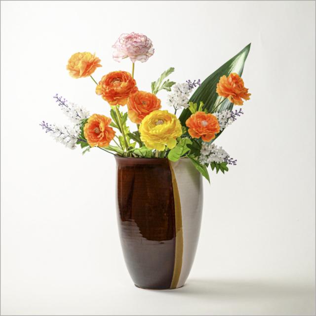 萩焼(伝統的工芸品)花器掛分け(白姫&鉄赤釉)瓜形雲口
