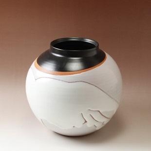 萩焼(伝統的工芸品)つぼ小掛外し(白姫&黒釉)丸