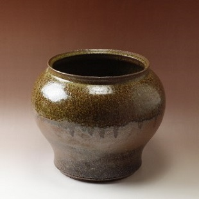 萩焼(伝統的工芸品)つぼ中鉄釉結晶丸広口