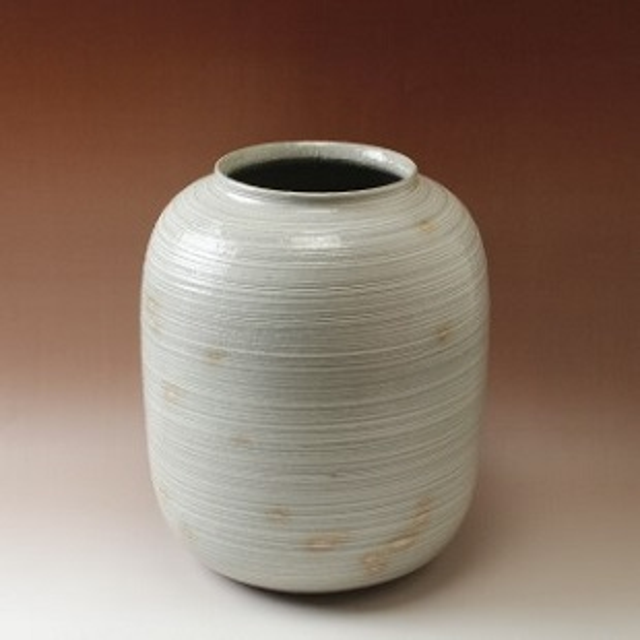 萩焼(伝統的工芸品)つぼ大刷毛青荒瓜形