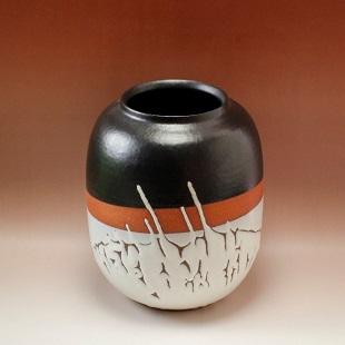 萩焼(伝統的工芸品)つぼ大掛分け(鬼白松&黒釉)掛外し瓜形