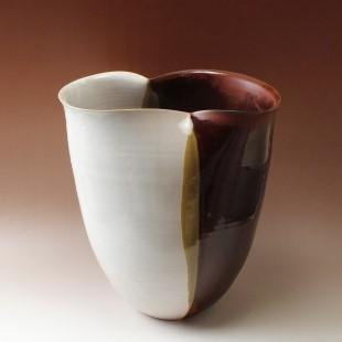 萩焼(伝統的工芸品)つぼ大掛分け(白姫&鉄赤釉)瓜形雲口