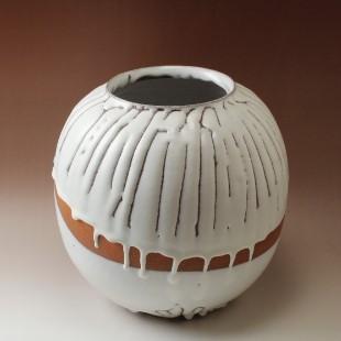 萩焼(伝統的工芸品)つぼ特大鬼白竹掛外し丸