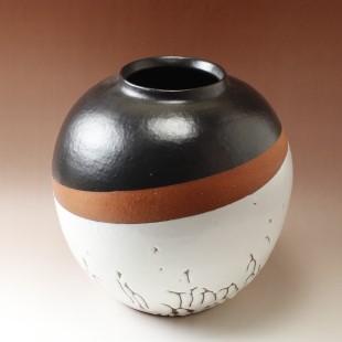 萩焼(伝統的工芸品)つぼ特大掛分け(鬼白松&黒釉)掛外し丸
