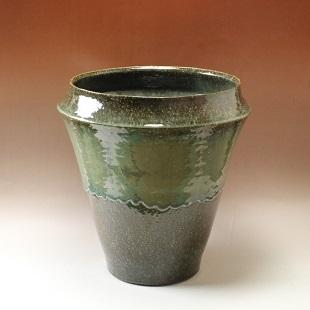 萩焼(伝統的工芸品)大つぼ鉄青釉肩衝広口