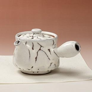 萩焼(伝統的工芸品)急須中大鬼白松筒鉄砲口