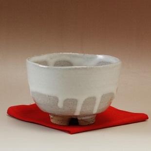 萩焼(伝統的工芸品)抹茶碗白萩掛分け半筒