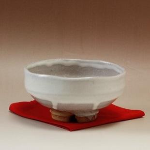 萩焼(伝統的工芸品)抹茶碗白萩掛分け馬盥