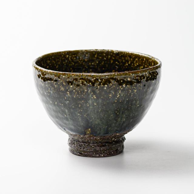 萩焼(伝統的工芸品)抹茶碗上鉄青釉井戸形