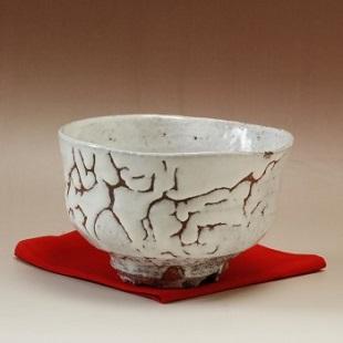 萩焼(伝統的工芸品)抹茶碗上鬼白荒竹沓形桜高台