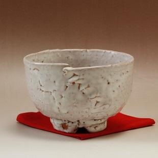 萩焼(伝統的工芸品)抹茶碗上鬼萩荒井戸形綴目