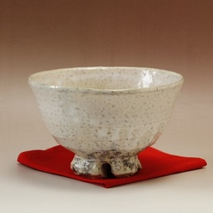 萩焼(伝統的工芸品)抹茶碗上鬼萩荒化粧井戸形桜高台