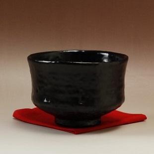 萩焼(伝統的工芸品)抹茶碗上黒釉端反