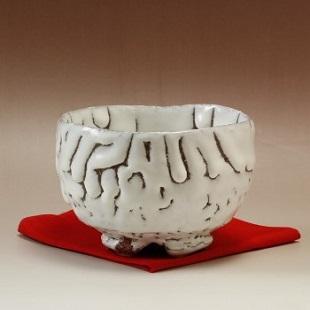 萩焼(伝統的工芸品)抹茶碗特小鬼白竹碗形