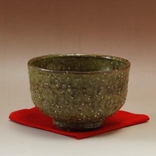 萩焼(伝統的工芸品)抹茶碗特緑釉荒半筒