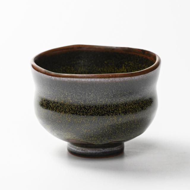 萩焼(伝統的工芸品)抹茶碗特金黒星釉胴締