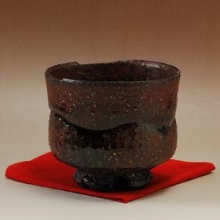 萩焼(伝統的工芸品)抹茶碗特上鉄赤釉鬼荒半筒筆洗線彫