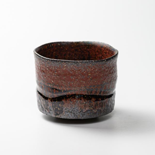 萩焼(伝統的工芸品)抹茶碗特上大鉄赤釉鬼荒半筒線彫