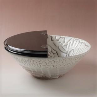萩焼(伝統的工芸品)水指鬼白松平(塗蓋付)