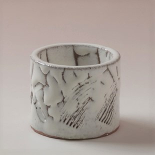 萩焼(伝統的工芸品)蓋置鬼白松筒櫛目