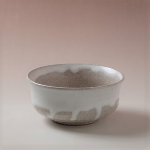 萩焼(伝統的工芸品)建水白萩掛分け端反