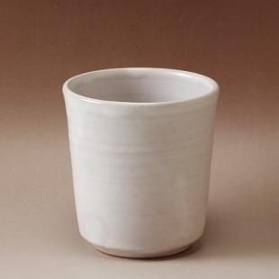 萩焼(伝統的工芸品)フラキャンポット小白姫筒穴有り