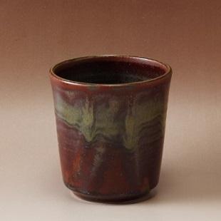 萩焼(伝統的工芸品)フラキャンポット小鉄赤釉筒穴有り