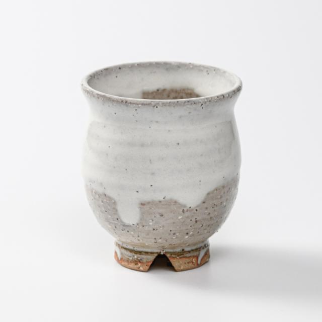 萩焼(伝統的工芸品)湯呑小白萩掛分け丸