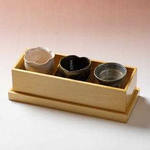 萩焼(伝統的工芸品)「萩彩和器」【彩季豆小鉢-く】(豆小鉢3個・塗り箱入り)