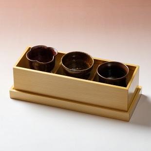 萩焼(伝統的工芸品)「萩彩和器」【彩季豆小鉢-み】(豆小鉢3個・塗り箱入り)