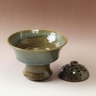 萩焼(伝統的工芸品)花楽鉄青釉コンポート花留め付
