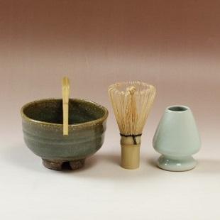 萩焼(伝統的工芸品)茶楽抹茶碗鉄青釉半筒3点セット付