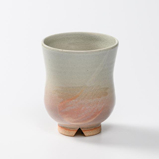 萩焼(伝統的工芸品)湯呑小刷毛姫胴締No2