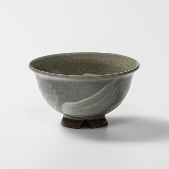 萩焼(伝統的工芸品)飯碗刷毛青朝顔