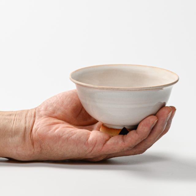 萩焼(伝統的工芸品)飯碗小白姫朝顔No308