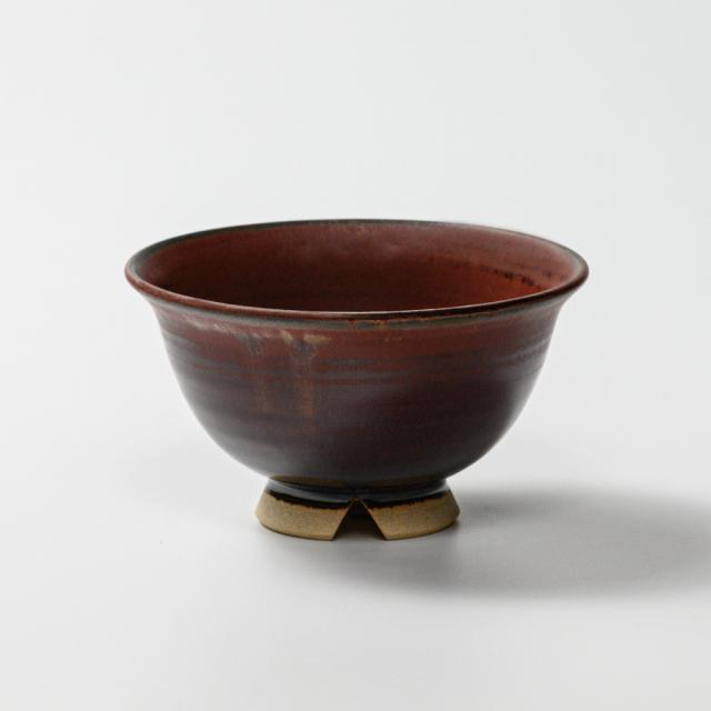 萩焼(伝統的工芸品)飯碗小鉄赤釉朝顔No309