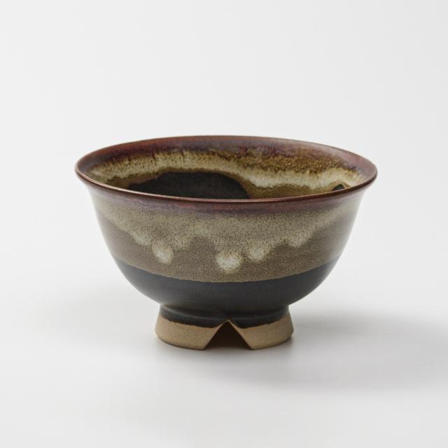 萩焼(伝統的工芸品)飯碗掛分け(黒釉&わら)朝顔