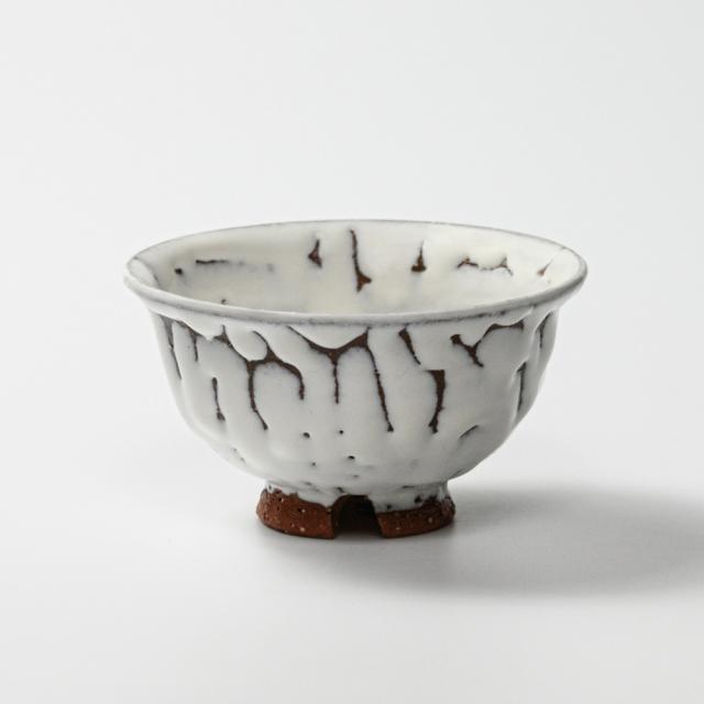 萩焼(伝統的工芸品)飯碗小鬼白松朝顔No312