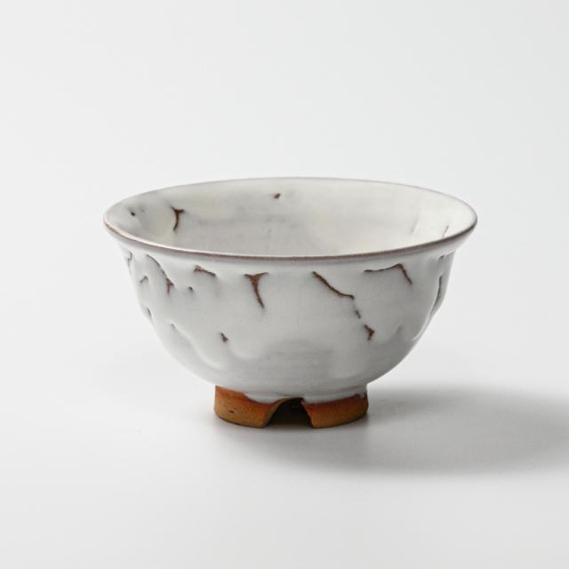 萩焼(伝統的工芸品)飯碗小鬼白竹朝顔No313