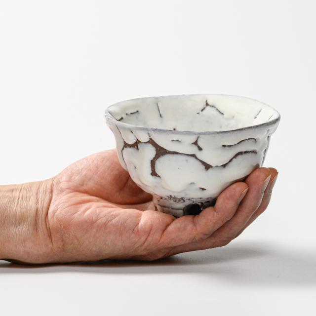 萩焼(伝統的工芸品)飯碗小鬼白荒松朝顔
