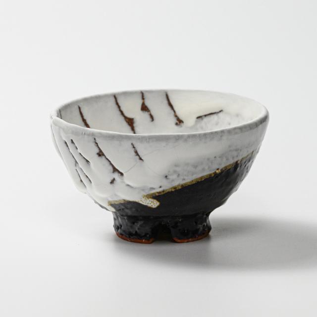 萩焼(伝統的工芸品)飯碗掛分け(鬼白荒松&黒釉)呉器