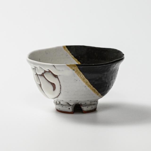 萩焼(伝統的工芸品)飯碗小掛分け(鬼白荒松&黒釉)朝顔No320
